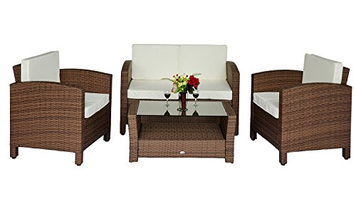Set mobili da giardino in poly rattan 14 pz tavolino for Mobili da giardino economici