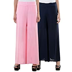 NumBrave LightPink & NavyBlue Premium Lcrya Palazzos (Combo)