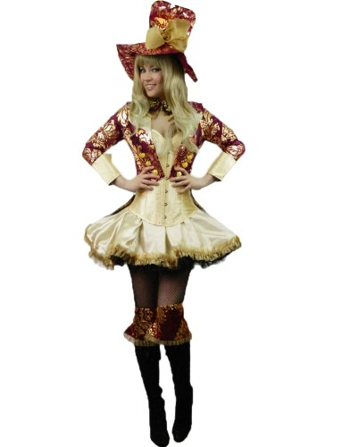 Yummy Bee Mad Hatter Cappellaio Matto Alice in Wonderland Costume Taglia Forte 34 - 48 Deluxe (Donna: 36-38)