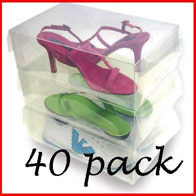 Anti-Slip Clear Shoe Boxes - 40 Pack by tallerheels