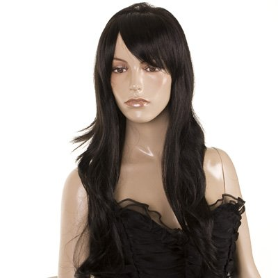 Fearne Wig | Black Long Wavy Style | Teased Volume Top | Soft Side Fringe | Celebrity Style Wig