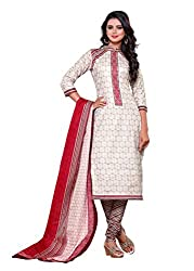 SayShopp Fashion Women's Unstitched Regular Wear Cotton Printed Salwar Suit Dress Material (ZDM-22_White_Free Size)