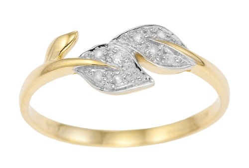 9ct Yellow Gold Ladies' Diamond Set Celtic Style Double Leaf Ring Size O