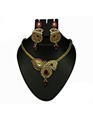 Antique Gold Plated Austrian Stone Pink Necklace Set - 2102104