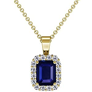14K Yellow Gold Emerald Cut Blue Sapphire And Round Diamond Pendant