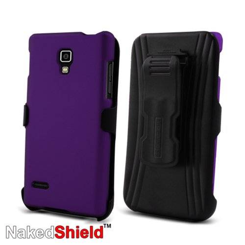 41I1iVq qjL * T Mobile LG Optimus L9 P769 Purple Protector Case with KickStand BeltClip Holster + Naked Shield Hd Screen Protector Big Sale