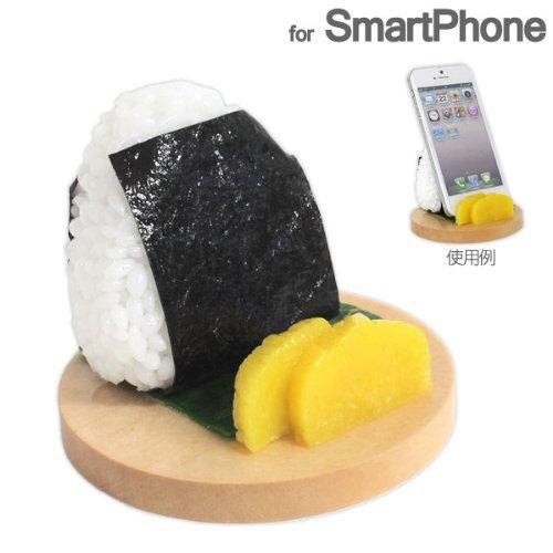 各種 スマートフォン 対応 食品サンプル スマホ スタンド (おにぎり/のり)