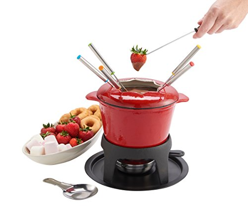 VonShef Fondue Set - Stylish Red Cast Iron Porcelain Enamel - For All Styles of Fondue Such As Cheese And Chocolate (Swissmar Fuel compare prices)
