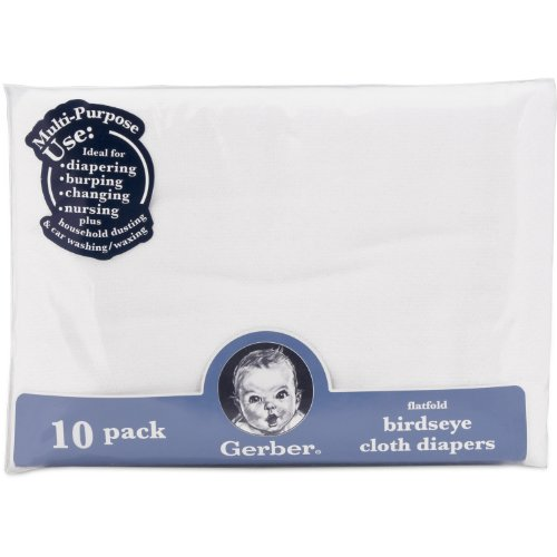 Gerber Birdseye 10 Count Flatfold Cloth Diapers, White