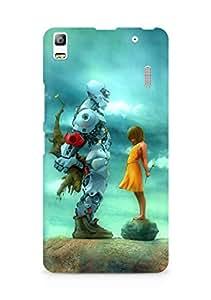 Amez designer printed 3d premium high quality back case cover for Lenovo A7000 (Robot n Girl)