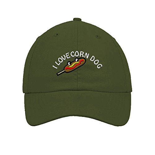 I Love Corn Dog Embroidered SOFT Unstructured Adjustable Hat Cap Olive Green (Corn Dog Clothing compare prices)