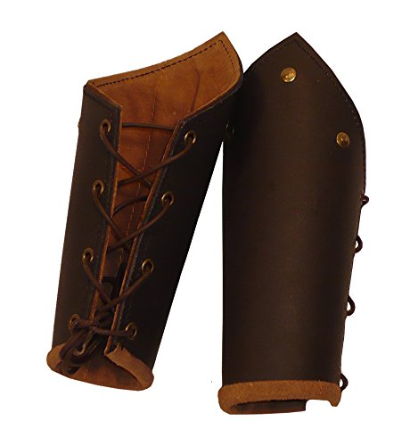 Knights Battle Arm Bracers, brown leather, LARP