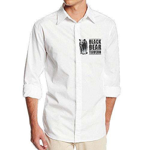 FUOALF Mens Black Bear Poster Long Sleeve Button Down Collar Dress Shirt