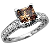 1.84ct Fancy Brown Cushion Cut Diamond Engagement Ring 18k Gold (7.5)