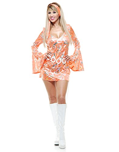 Womens Sexy Tangerine Disco Queen Short Skirt Dress 70's Dance Costume