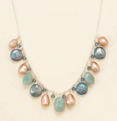 11mm Cultured Pearl/3mm Crystal/7mm Amazonite Sterling Silver Necklace,16+1.5inExt