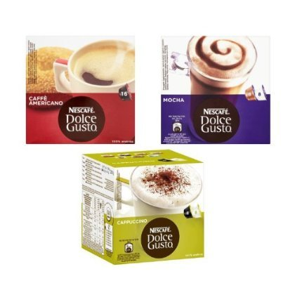 Find 2 X Nescafe Dolce Gusto 3 Flavour Variety Pack (Pack of 3, Total 48 Capsules) by Nescafé Dolce Gusto