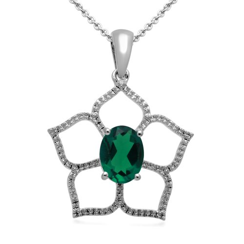 Sterling Silver Created Emerald and Diamond Flower Pendant Necklace, 18