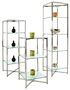 Folding Glass Tower with Shelves - FGT-1868 - 18 square x 68H
