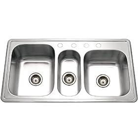 Houzer PGT-4322-1 Premiere 41-5/16-by-22-Inch Triple Bowl Drop-In Stainless Steel Kitchen Sink