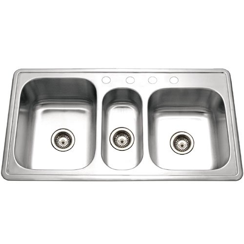 Find Bargain Houzer PGT-4322-1 Premiere 41-5/16-by-22-Inch Triple Bowl Drop-In Stainless Steel Kitch...