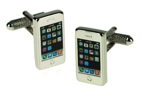Novelty Cufflinks - iPhone - CK649 - Mens Gents Designer Fashion Novelty Cufflinks In A Presentation Box - Onyx Art - Perfect gift for Fathers Day, Stocking Filler or the Man in your life