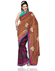 Unnati Silks Women Handloom Chanderi Embroidered Brown'Purple Saree