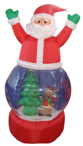 5' Airblown Inflatable Santa Claus Snow Globe Lighted Christmas Yard Art Decoration front-688554