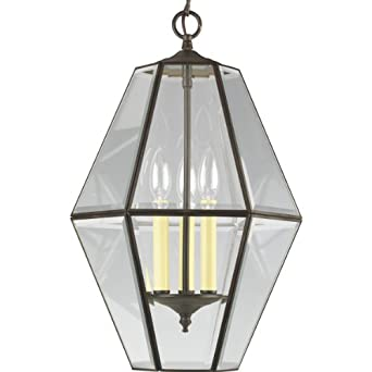 Progress Lighting P3716-20 6-Sided Foyer Fixture with Clear Bound Beveled Glass, Antique Bronze