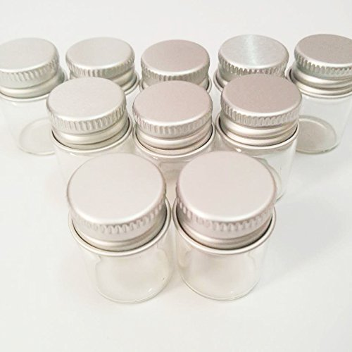 20pcs Sample Vials Clear Glass Bottles with Aluminum Caps Jars Small Bottle 5ml (Small Clear Glass Bottles compare prices)