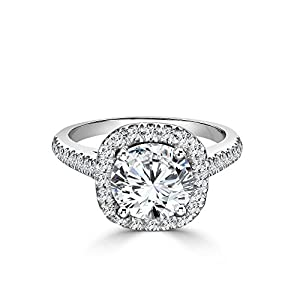 1 CT Engagement Ring Round Cut Solitaire with Accents H-I/I1-I2 14K White Gold - IGI Certified