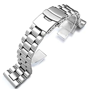 22mm Solid 316L Stainless Steel Endmill Metal Watch Bracelet, Straight End Version