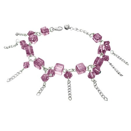 The Stainless Steel Jewellery Shop - Fashion Crystal Glass Beads Ball Cube Bell Charm Bracelet/Anklet