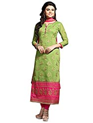 Kanchnar Women's Green and Pink Chanderi Embroidered Party Wear Dress Material for Traditional Wedding Wear,Navratri Special Dress,Great Indian Sale,Diwali Gift to Wife,Mom,Sister,Friend