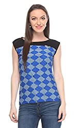 Wearsense Women's Top (Blue and Black, Medium)