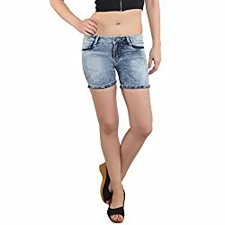 BAT Blue Solid Washed Shorts For Women