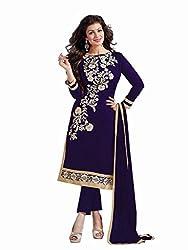 Shreenath Creation Women's Chanderi Cotton Long Salwar Suit Dress Material (Dreamgirl037_Blue)