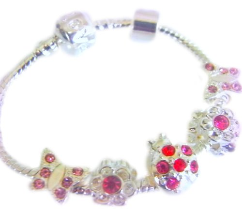 Treasured Charms & Beads Sparkling Babies/Toddlers/Childs Silver Plated Charm Bracelet Butterfly & Ladybird Charms