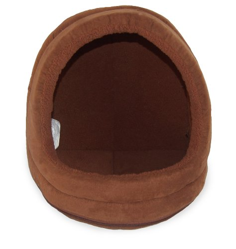 Nap Pet Bed Snuggle Terry And Suede Hood Pet Bed, Espresso