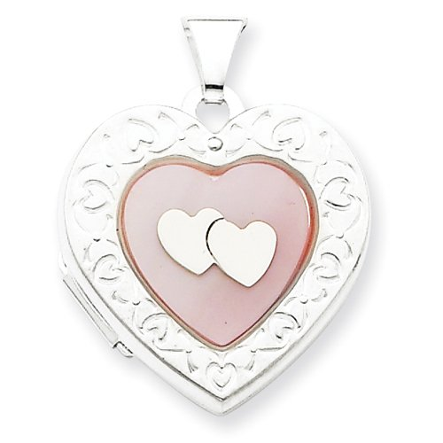 Sterling Silver Pink MOP 2 Heart 2-Frame Heart Locket