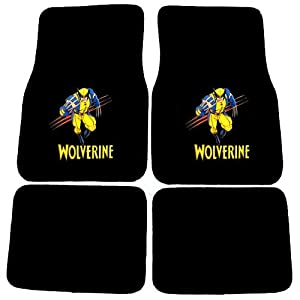 Wolverine X-Men Mutant Marvel Comics Logo Front & Rear Seat Car Truck SUV Carpet Floor Mats - 4PC