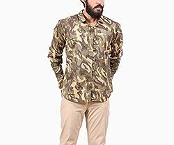 Fadjuice Men's Shirt (Fj43742M_Sap Green Brown Yellow Gray Black_Medium)