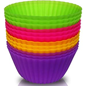 Pacific-V Silicone Baking Cups - 12PCS (4 Colors) BPA Free Silicone Cupcake Liners Perfect... by Pacific-V
