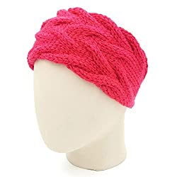 Magic Needles Handknitted Girls Double Cable Headband/Earwarmer - Coral Red