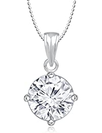 MEENAZ SOLITAIRE PENDANT SILVER PLATED DESIGNER WITH CHAIN FOR MEN AND WOMEN PS 259