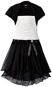 Amy Byer Big Girls' Ruched Dress with Shrug, Ivory, 14