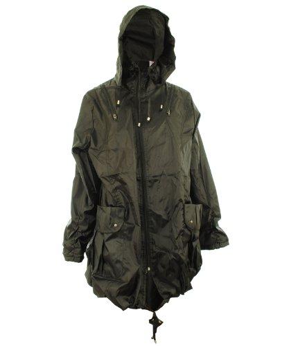 Ciera New Womens Oversized Rain Hoody Hooded Zip Fastening Ladies Jacket Coat