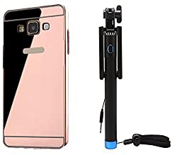 Novo Style Back Cover Case with Bumper Frame Case for Samsung Galaxy On7 Rose Gold + Wired Selfie Stick No Battery Charging Premium Sturdy Design Best Pocket SizedSelfie Stick