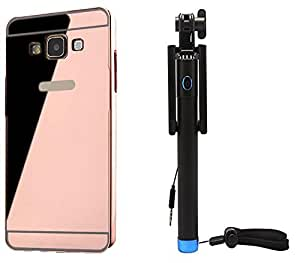 Novo Style Back Cover Case with Bumper Frame Case for Samsung Galaxy J7 (2016)  Rose Gold + Wired Selfie Stick No Battery Charging Premium Sturdy Design Best Pocket Sized Selfie Stick