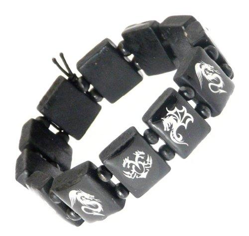 Elasticated Wooden Dragon Design Stretch Bracelet / Wristband